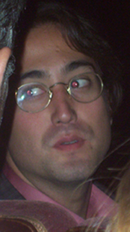 Sean Lennon talks with people in the audience. Photo © 2003 by Eric Elléna