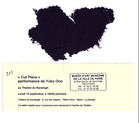 Yoko Ono's Cut Piece 2003 (Ticket & Piece courtesy of Ian Ayres)