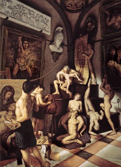 """SOLVE ET COAGULA"" Temple de huevo y óleo / lienzo / tabla 165 x 122 cm. 1992"