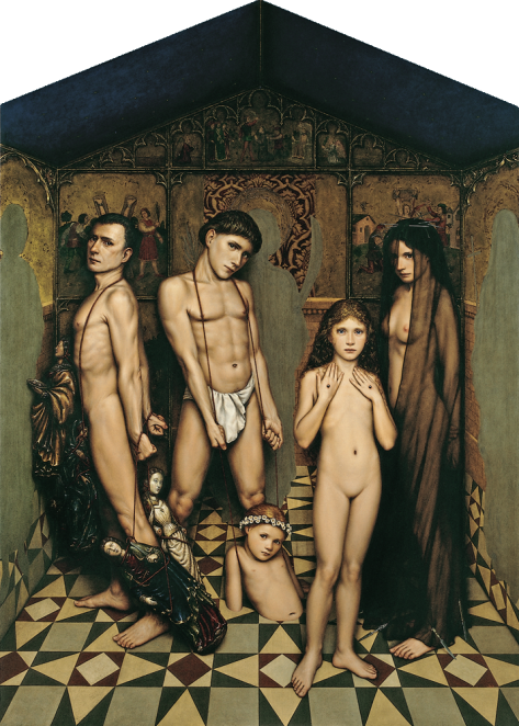 """DRAMATIS PERSONAE"" Egg tempera, oil and gold leaf / wood 170 x 122 cm. 1996"