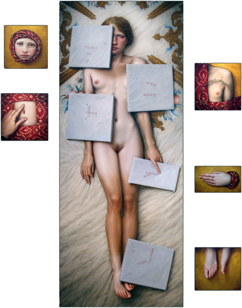 """""""ACU PICTA"""" Oil and gold leaf / table Polyptych 6 pieces: 150 x 120 cm. 2004"""