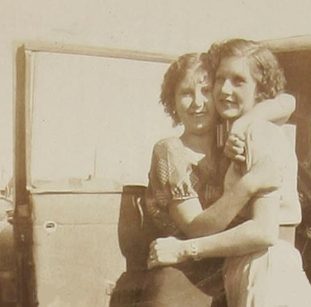 Bonnie (left) with Clyde's sister, Marie Barrow