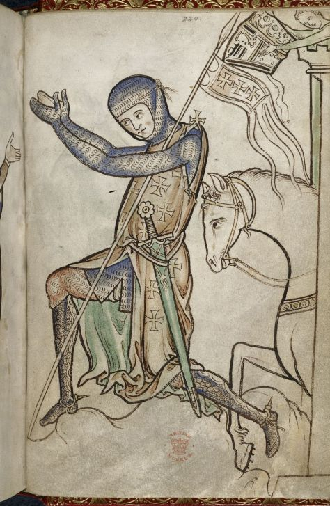 A knight kneels before setting off on Crusade, his servant leaning over the turret with his helm. Illustration from the Westminster Psalter, 13th century.