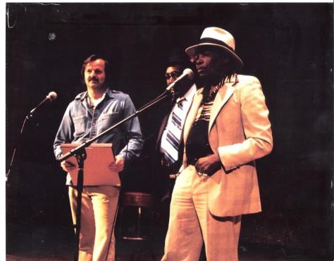 A.D. and Blues Icon John Lee Hooker.  California Hall. San Francisco. 2000.