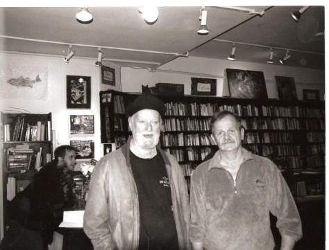 Beat poet Lawrence Ferlinghetti. Abandoned Planet Bookstore SF. year unknown.