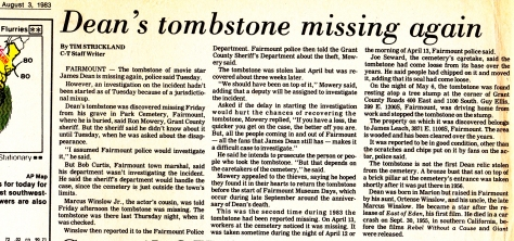 James Dean's tombstone stolen (3 Aug 1983) Fairmount news