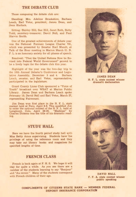 John David Nall & James Dean (yearbook)