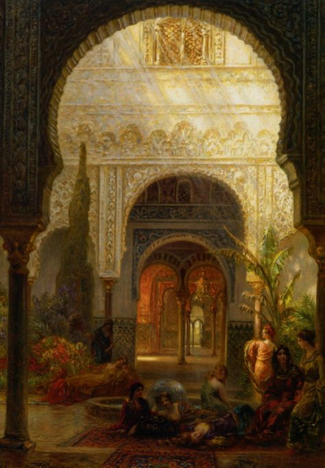 The-Patio-della-Reina---The-Alcazar-Sevilla-by-Ernst-Carl-Eugen-Koerner